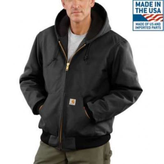 Carhartt Black Quilted Flannel Lined Duck Active Jacket