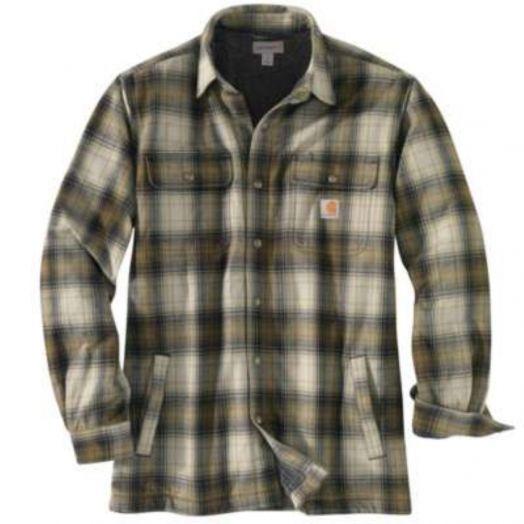 Carhartt Olive Hubbard Sherpa-lined Flannel Shirt Jac