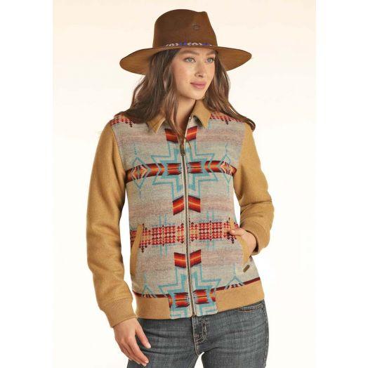Powder River Ladies Aztec Jacquard Wool Blend Bomber Coat