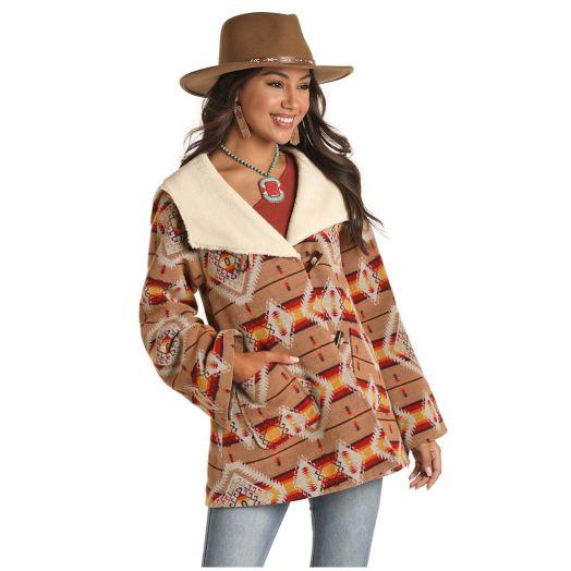 Powder River Ladies Aztec Jacquard Wool Blend Cape Coat