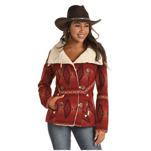 Powder River Ladies Aztec Jacquard Wool Blend Coat With Berber Collar