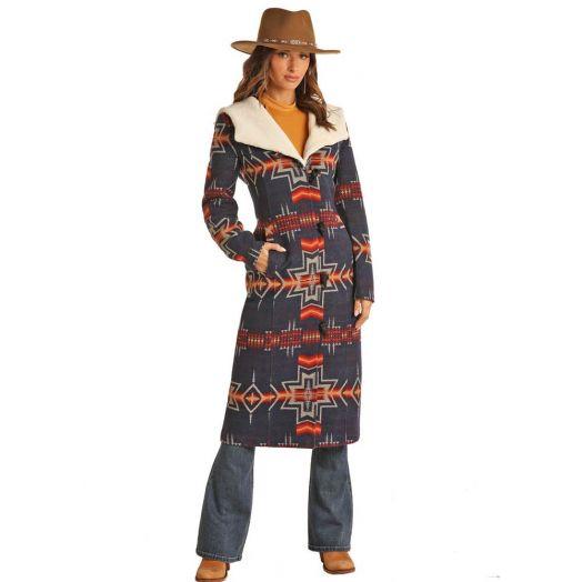 Powder River Ladies Aztec Jacquard Wool Blend Long Coat