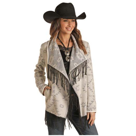 Powder River Ladies Aztec Jacquard Wool Jacket With Fringe
