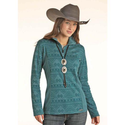 Powder River Ladies Heather Aztec Knit Henley Pullover