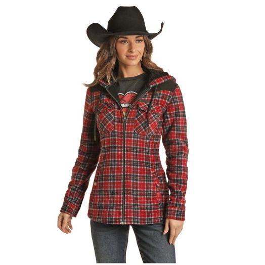 Powder River Ladies Plaid Print Fleece Jacket with Berber Lining
