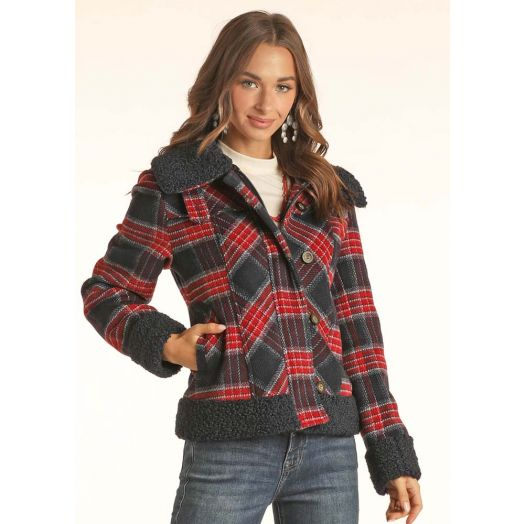 Powder River Ladies Wool Blend Plaid Coat With Berber Collar And Cuffs