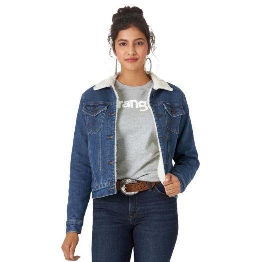 Wrangler® Retro® Ladies Denim Sherpa Lined Trucker Jacket