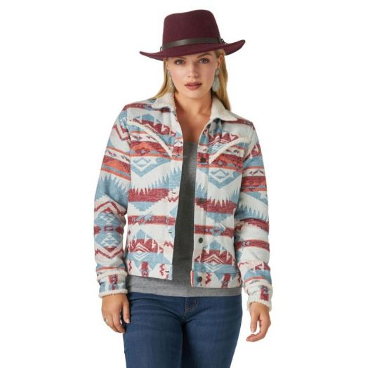 Wrangler® Retro® Ladies Retro Western Jacquard Sherpa Lined Jacket